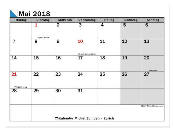 Kalender für Mai 2018, mit Feiertagen des Kantons Zürich. Kostenlos ausdruckbare Planer.