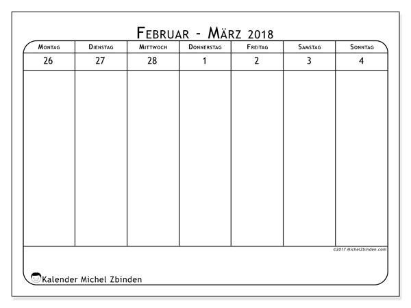 Kalender März 2018 (43-1MS). Kalender für die Woche zum kostenlosen ausdrucken.