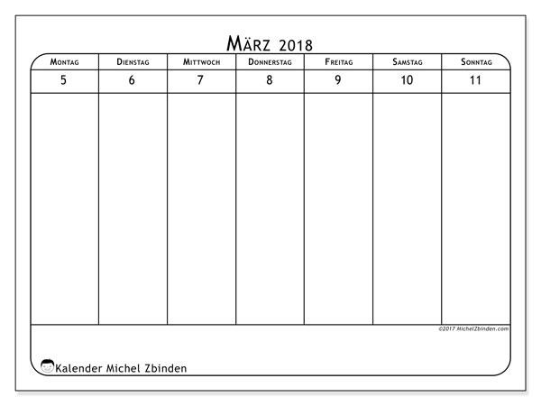 Kalender März 2018 (43-2MS). Kostenlos ausdruckbare Kalender.