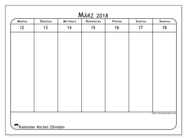 Kalender März 2018 (43-3MS). Kostenloser Zeitplan zum ausdrucken.