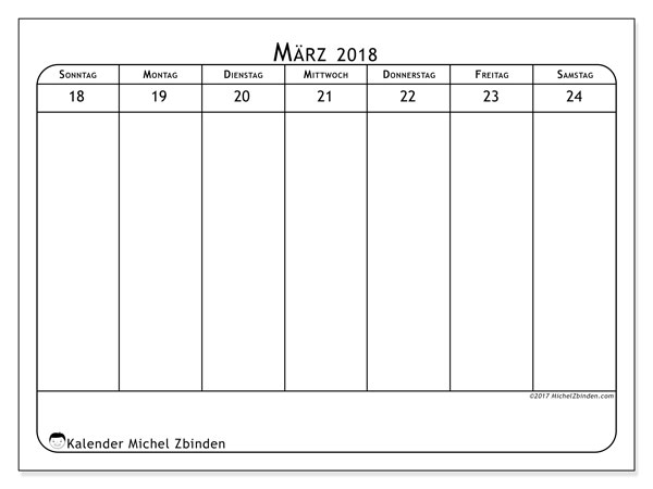 Kalender März 2018 (43-4SS). Kostenloser Zeitplan zum ausdrucken.