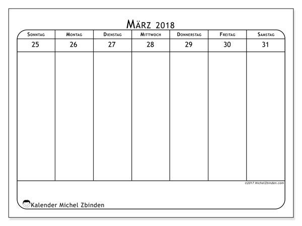 Kalender März 2018 (43-5SS). Wöchentlicher Kalender zum kostenlosen ausdrucken.