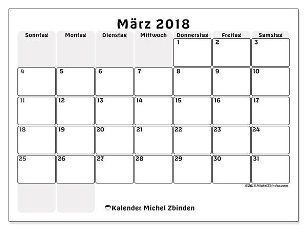 Kalender März 2018 (44SS). Planer zum kostenlosen ausdrucken.