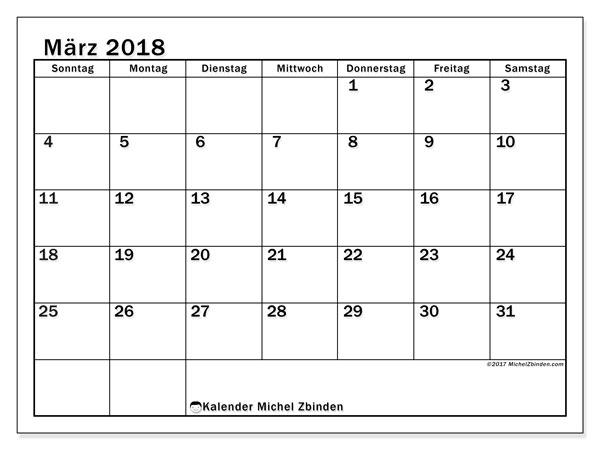 Kalender März 2018 (50SS). Kostenloser Zeitplan zum ausdrucken.