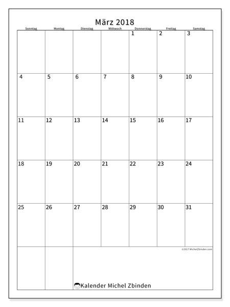 Kalender März 2018 (52SS). Kostenlos ausdruckbare Planer.