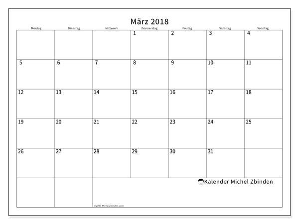 Kalender März 2018 (53MS). Kostenlos ausdruckbare Planer.