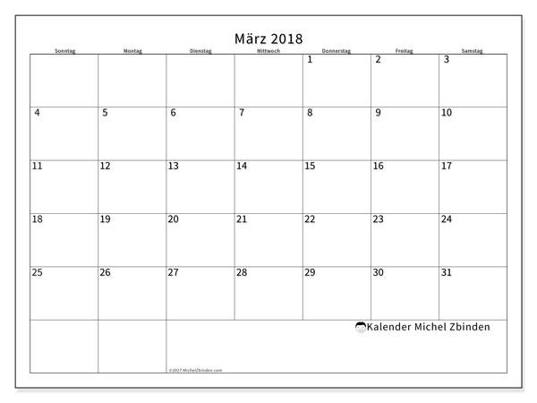 Kalender März 2018 (53SS). Kostenlos ausdruckbare Kalender.