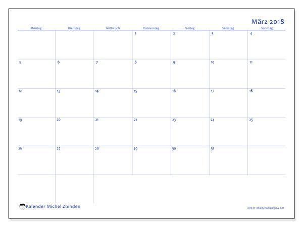 Kalender März 2018 (55MS). Kostenlos ausdruckbare Planer.