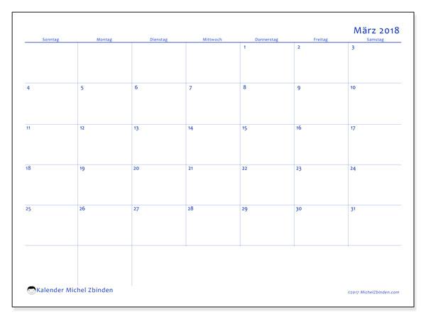 Kalender März 2018 (55SS). Monatlicher Zeitplan zum kostenlosen ausdrucken.
