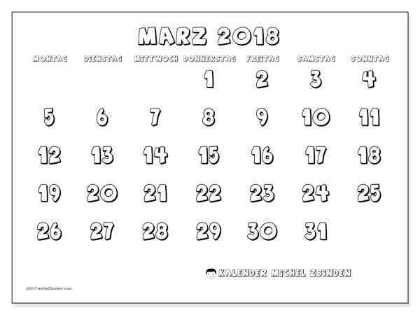 Kalender März 2018 (56MS). Monatskalender zum kostenlosen ausdrucken.
