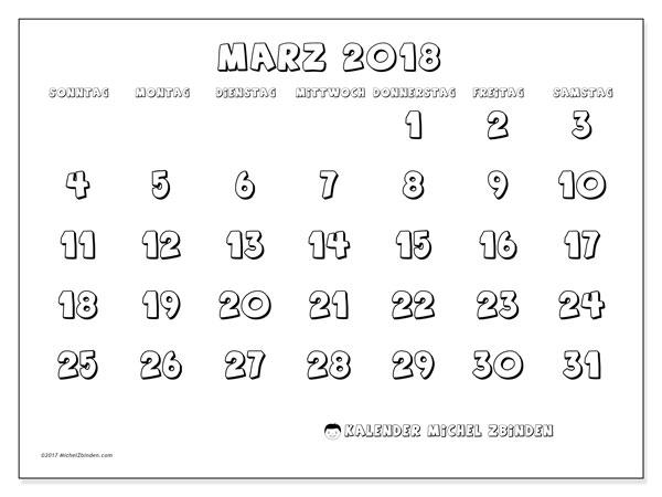 Kalender März 2018 (56SS). Kostenloser Kalender zum ausdrucken.