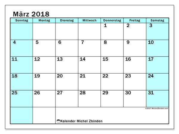 Kalender März 2018 (59SS). Kalender zum kostenlosen ausdrucken.