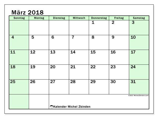 Kalender März 2018 (60SS). Monatskalender zum kostenlosen ausdrucken.