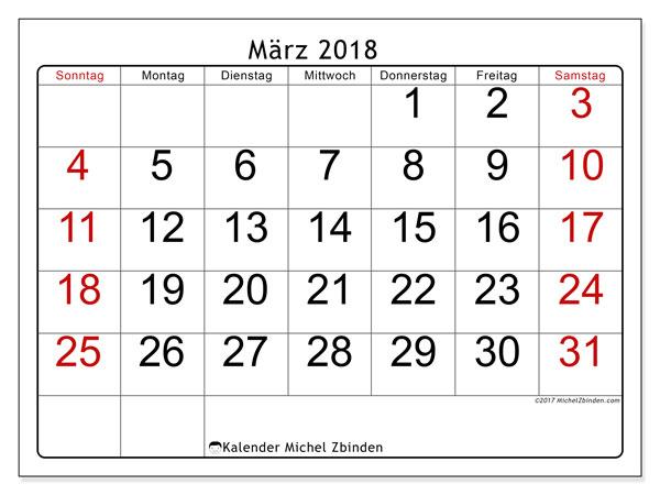 Kalender März 2018 (62SS). Kostenlos ausdruckbare Planer.