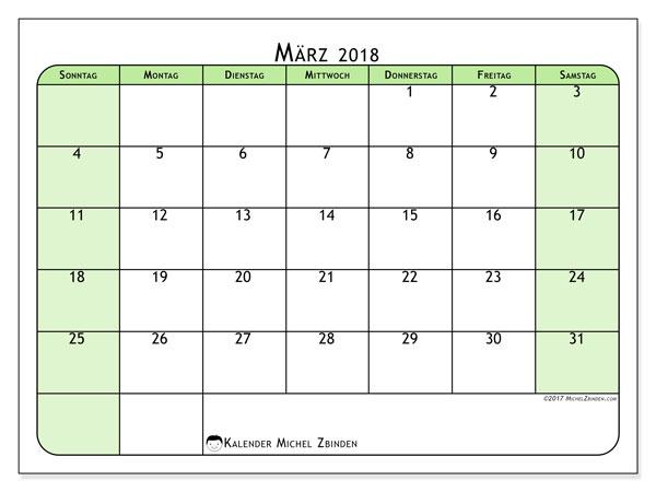 Kalender März 2018 (65SS). Monatlicher Zeitplan zum kostenlosen ausdrucken.