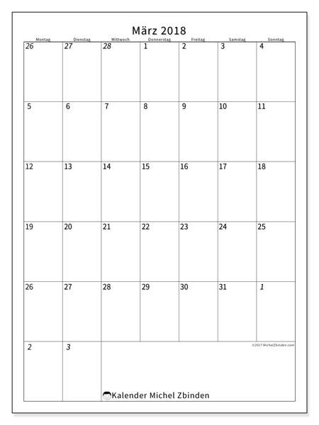 Kalender März 2018 (68MS). Kostenlos ausdruckbare Kalender.