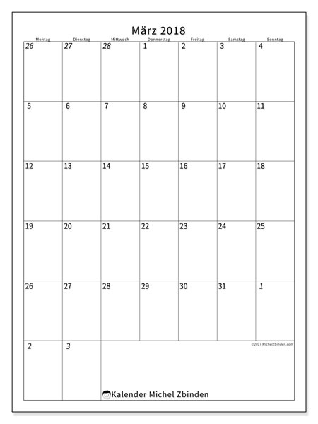 Kalender März 2018 (68MS). Kostenlos ausdruckbare Zeitplan.