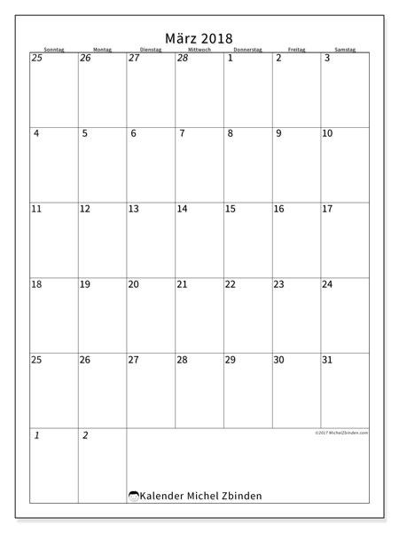 Kalender  März 2018, 68SS