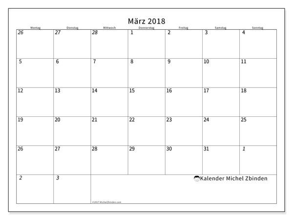 Kalender März 2018 (70MS). Kostenloser Kalender zum ausdrucken.
