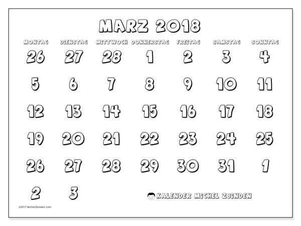 Kalender März 2018 (71MS). Monatlicher Kalender zum kostenlosen ausdrucken.