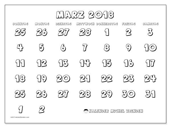 Kalender März 2018 (71SS). Kostenloser Kalender zum ausdrucken.