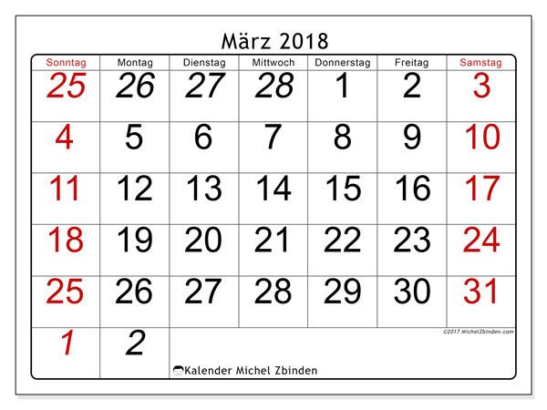 Kalender März 2018 (72SS). Kalender für den Monat zum kostenlosen Ausdrucken.