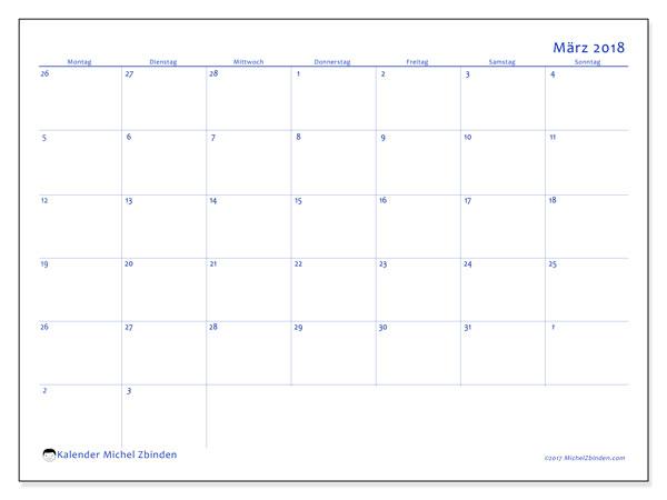 Kalender März 2018 (73MS). Kostenlos ausdruckbare Kalender.