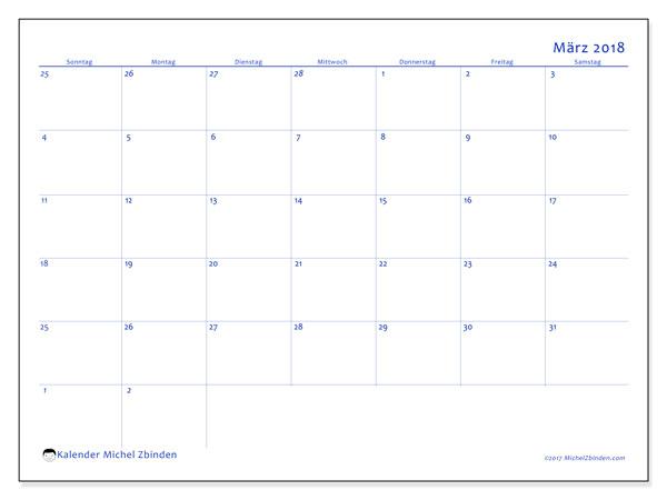 Kalender März 2018 (73SS). Monatlicher Kalender zum kostenlosen ausdrucken.