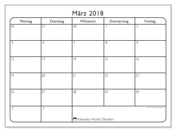 Kalender März 2018 (74MF). Kostenloser Planer zum ausdrucken.