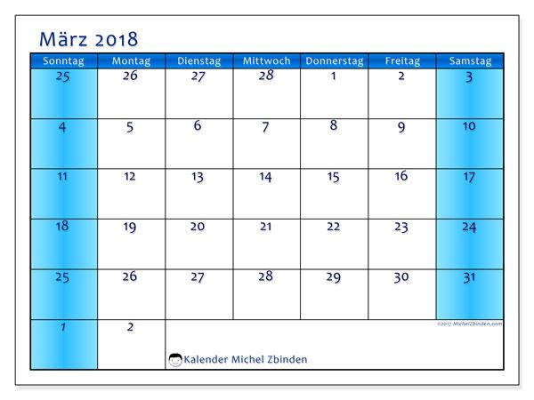 Kalender März 2018 (75SS). Kalender zum kostenlosen ausdrucken.