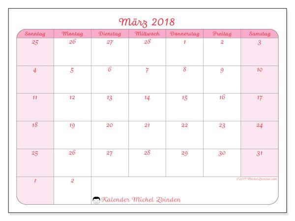 Kalender März 2018 (76SS). Monatlicher Zeitplan zum kostenlosen ausdrucken.