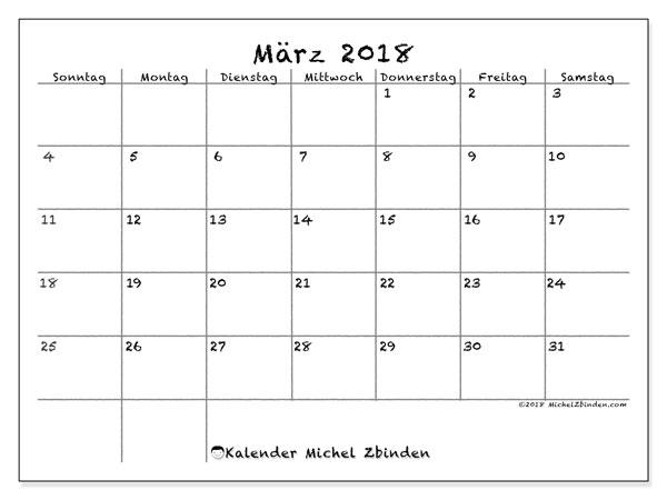 Kalender März 2018 (77SS). Kostenloser Kalender zum ausdrucken.