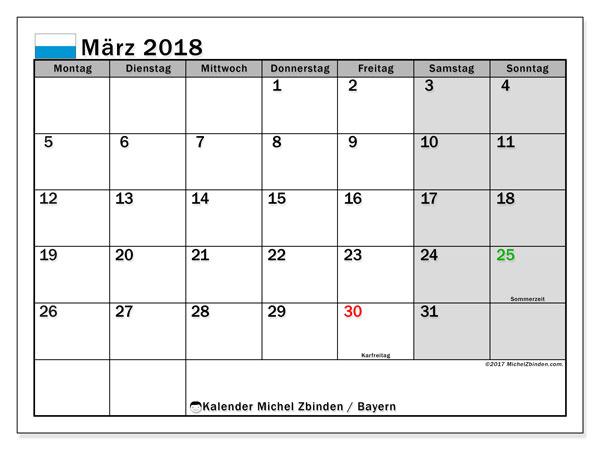 Kalender für März 2018, mit Feiertagen Bayern. Planer zum kostenlosen ausdrucken.