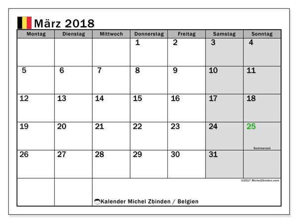 Kalender für März 2018, mit Feiertagen in Belgien. Zeitplan zum kostenlosen ausdrucken.