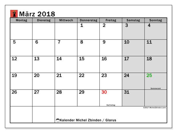 Kalender für März 2018, mit Feiertagen des Kantons Glarus. Planer zum kostenlosen ausdrucken.