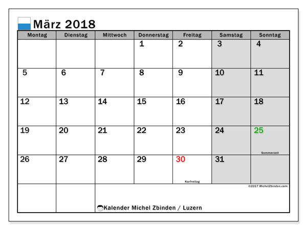 Kalender für März 2018, , mit Feiertagen des Kantons Luzern. Kostenlos ausdruckbare Zeitplan.