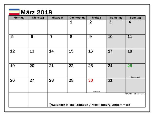 Kalender für März 2018, , mit Feiertagen Mecklenburg-Vorpommern. Monatskalender zum kostenlosen ausdrucken.