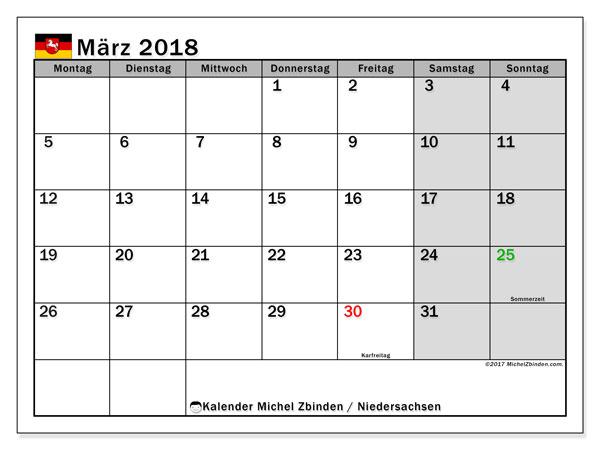 Kalender für März 2018, mit Feiertagen Niedersachsen. Kostenlos ausdruckbare Zeitplan.