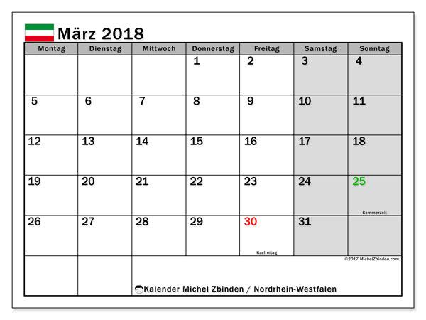 kalender m rz 2018 nordrhein westfalen. Black Bedroom Furniture Sets. Home Design Ideas
