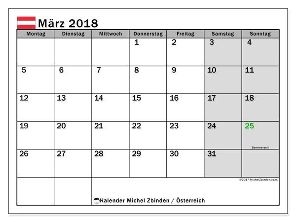 Kalender für März 2018, mit Feiertagen in Österreich. Monatlicher Kalender zum kostenlosen ausdrucken.