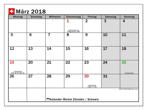 Kalender für März 2018, mit Feiertagen in der Schweiz. Monatskalender zum kostenlosen ausdrucken.