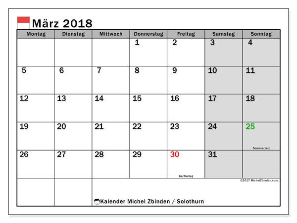 Kalender für März 2018, mit Feiertagen des Kantons Solothurn. Kostenloser Kalender zum ausdrucken.