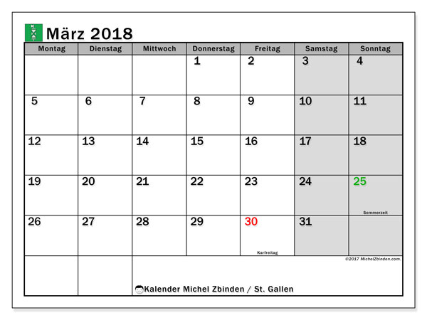 Kalender für März 2018, , mit Feiertagen des Kantons St. Gallen. Kostenloser Planer zum ausdrucken.
