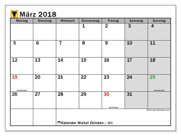 Kalender für März 2018, mit Feiertagen des Kantons Uri. Kostenlos ausdruckbare Planer.