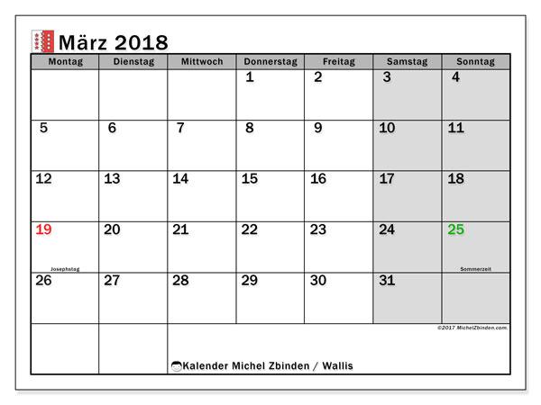 Kalender für März 2018, mit Feiertagen des Kantons Wallis. Kostenloser Planer zum ausdrucken.