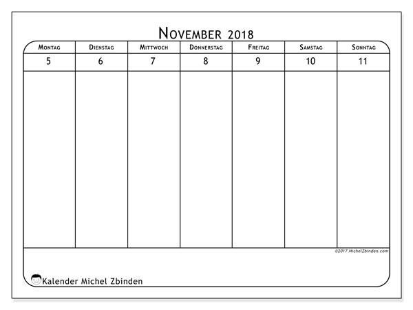Kalender November 2018 (43-2MS). Kostenloser Planer zum ausdrucken.