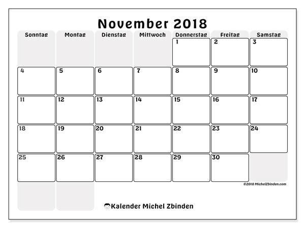 Kalender November 2018 (44SS). Monatlicher Kalender zum kostenlosen ausdrucken.