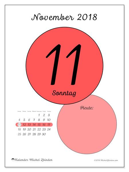 Kalender November 2018 (45-11SS). Kalender für den Tag, um kostenlos zu drucken.