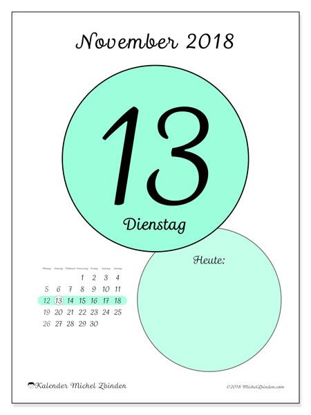 Kalender November 2018 (45-13MS). Kalender für den Tag, um kostenlos zu drucken.