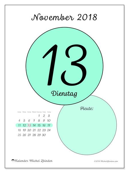 Kalender November 2018 (45-13SS). Kalender für den Tag, um kostenlos zu drucken.